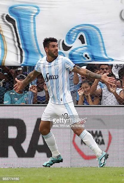 Javier Toledo of Atletico Tucuman celebrates after scoring against Boca Juniors during their Superliga football match at the Jose Fierro stadium in...