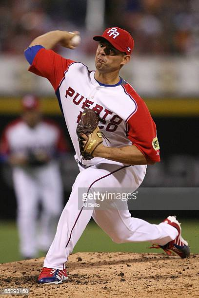 Javier Vasquez of Puerto Rico pitches against Panama during the 2009 World Baseball Classic Pool D match on March 7, 2009 at Hiram Bithorn Stadium in...