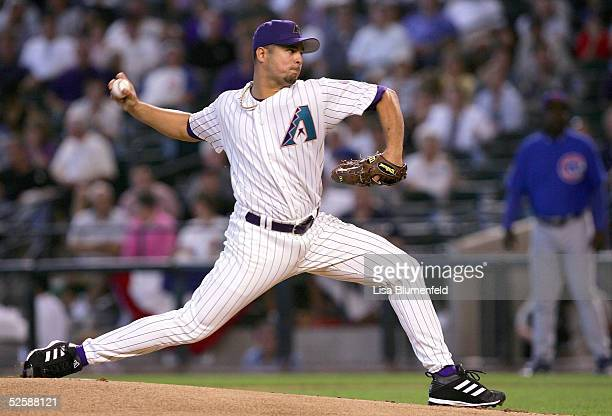 Javier Vazquez of the Arizona Diamondbacks pitches in the first inning against the Chicago Cubs during the Diamondbacks home opener on April 4 2005...