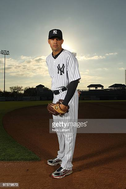 Javier Vazquez of the New York Yankees poses for a photo during Spring Training Media Photo Day at George M. Steinbrenner Field on February 25, 2010...