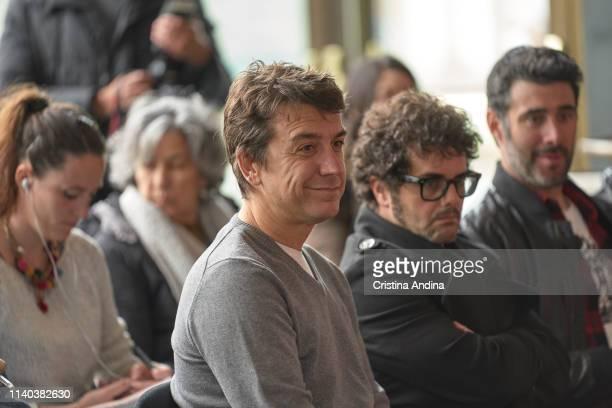 Javier Veiga David Perdonmo and David Amor attend EMHU press conference at Colon Theatre on April 4 2019 in A Coruna Spain