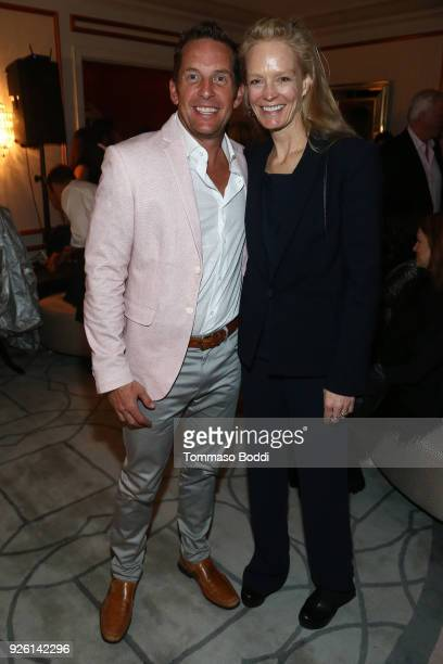 Javier Verdura and Suzy Amis Cameron attend the Suzy Amis Cameron's 9th Annual Red Carpet Green Dress PreOscars Celebration At The Private Residence...