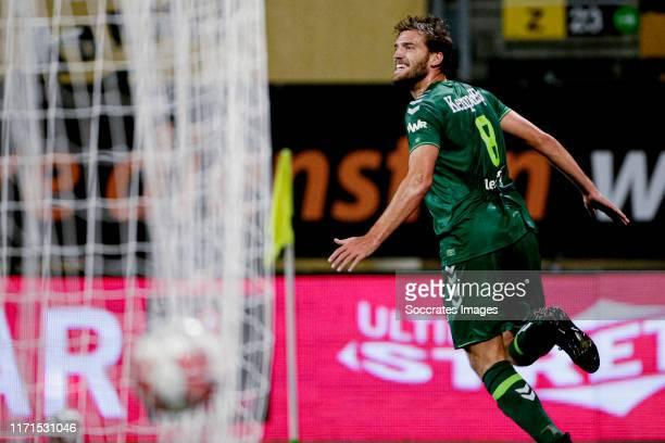 Javier Vet of De Graafschap celebrates 0-1 during the Dutch Keuken Kampioen Divisie match between Roda JC v De Graafschap at the Parkstad Limburg...