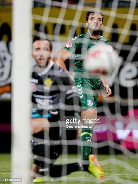 Javier Vet of De Graafschap scores the first goal to make it 0-1 during the Dutch Keuken Kampioen Divisie match between Roda JC v De Graafschap at...