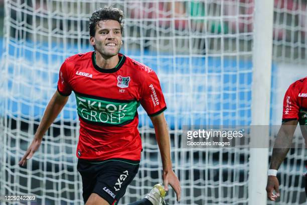 Javier Vet of N.E.C. Celebrating goal during the Dutch Keuken Kampioen Divisie match between NEC Nijmegen v Go Ahead Eagles at the Goffert Stadium on...