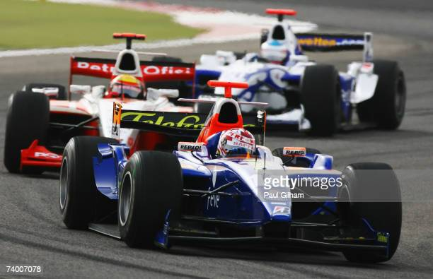 Javier Villa of Spain and Racing International competes during the GP2 Series race held before the Bahrain Formula One Grand Prix at the Bahrain...