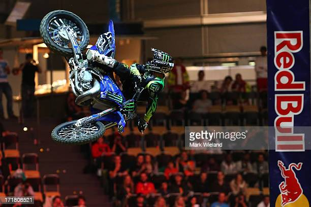 Javier Villegas of Chile competes in the Moto X Speed and Style competition at Munich Olympic Park on Day 2 of the XGames on June 28 2013 in Munich...