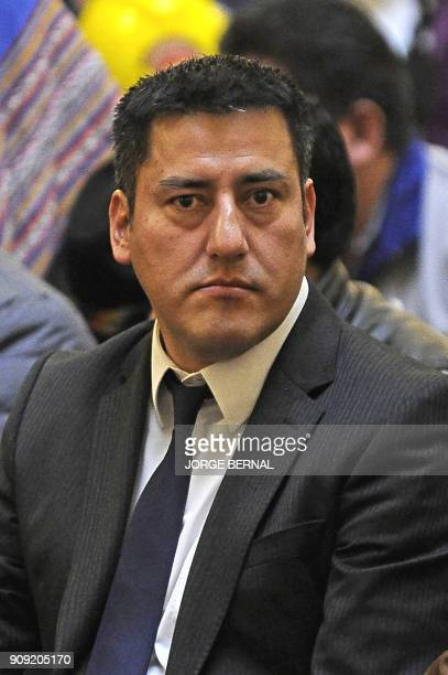 Javier Zabaleta Bolivia's new defence minister is seen during the ceremony in which President Evo Morales swore in his new cabinet at the Quemado...