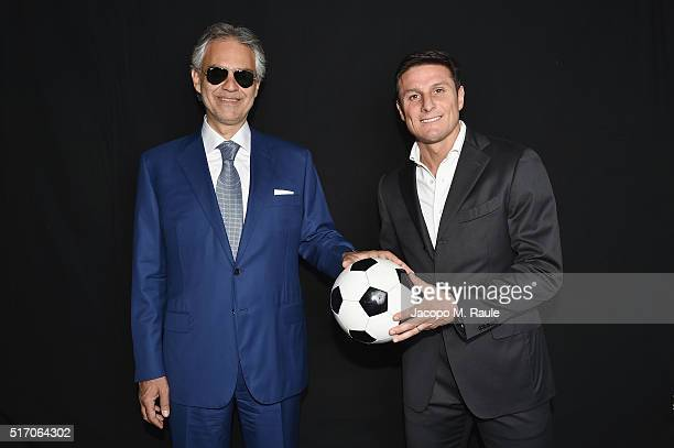 Javier Zanetti and Andrea Bocelli attend 'Bocelli And Zanetti Night' Presentation on March 22 2016 in Milan Italy
