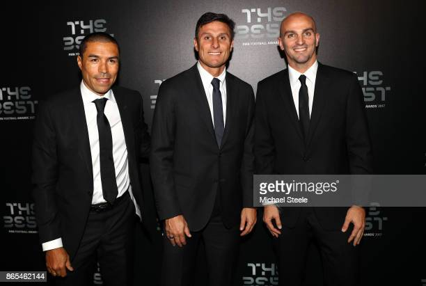 Javier Zanetti and Esteban Cambiasso arrive for The Best FIFA Football Awards Green Carpet Arrivals on October 23 2017 in London England