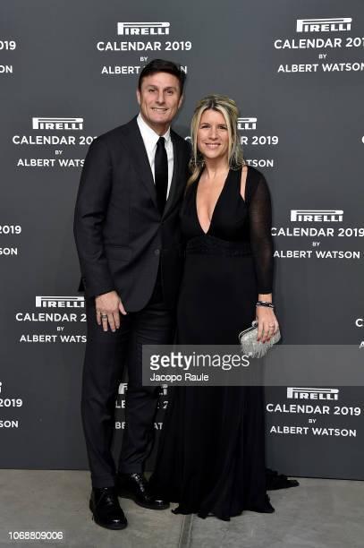Javier Zanetti and Paula Zanetti walk the red carpet ahead of the 2019 Pirelli Calendar launch gala at HangarBicocca on December 5, 2018 in Milan,...