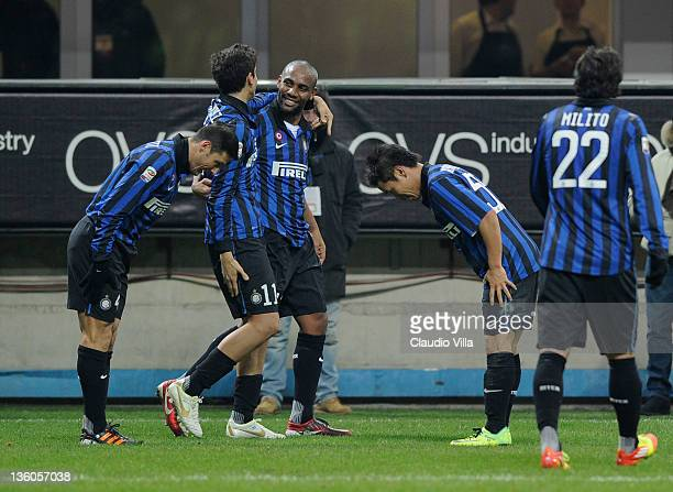Javier Zanetti and Yuto Nagatomo of FC Inter Milan celebrate the fourth goal during the Serie A match between FC Internazionale Milano and US Lecce...