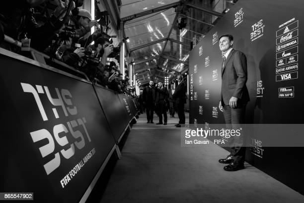 Javier Zanetti arrives on the green carpet for The Best FIFA Football Awards at The London Palladium on October 23 2017 in London England