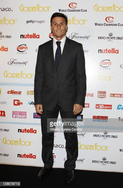 Javier Zanetti attend the Golden Foot Ceremony Awards on October 10 2011 in Monaco Monaco