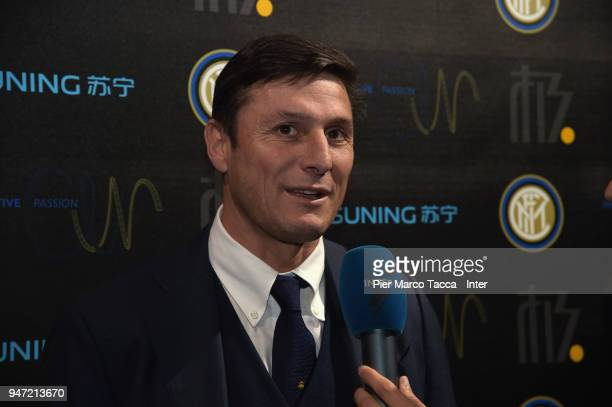 Javier Zanetti attends the unveiling of FC Internazionale 'Innovative Passion' Concept At Milan Design Week on April 16 2018 in Milan Italy