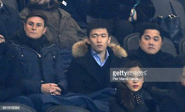 Javier Zanetti FC Internazionale board member Steven Zhang and President of FC Internazionale Erick Thohir look during the TIM Cup match between FC...