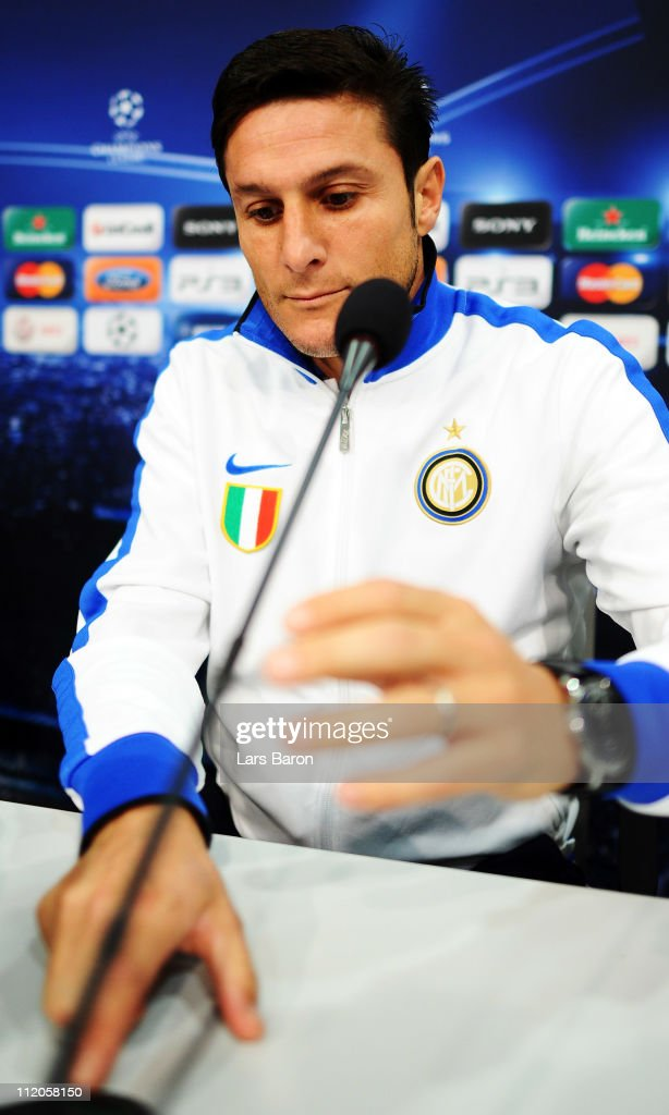 Javier Zanetti is seen during a Inter Milan press conference ahead of the UEFA Champions League quarter final second leg match against FC Schalke 04 at Veltins Arena on April 12, 2011 in Gelsenkirchen, Germany.