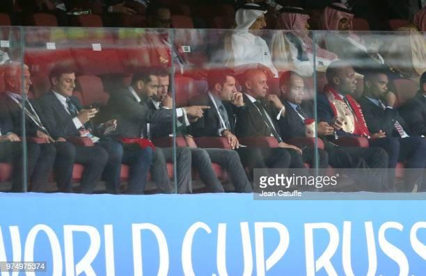 Javier Zanetti Lothar Matthaus Luis Figo Roberto Carlos Cafu Didier Drogba Samuel Eto'o during the 2018 FIFA World Cup Russia group A match between...