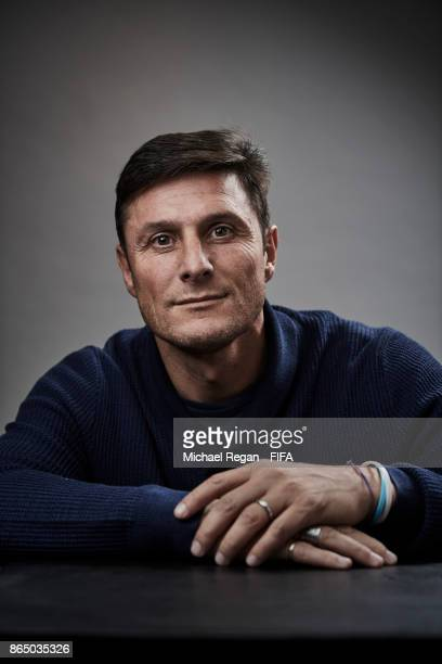 Javier Zanetti of Argentina poses prior to The Best FIFA Football Awards at The May Fair Hotel on October 22 2017 in London England