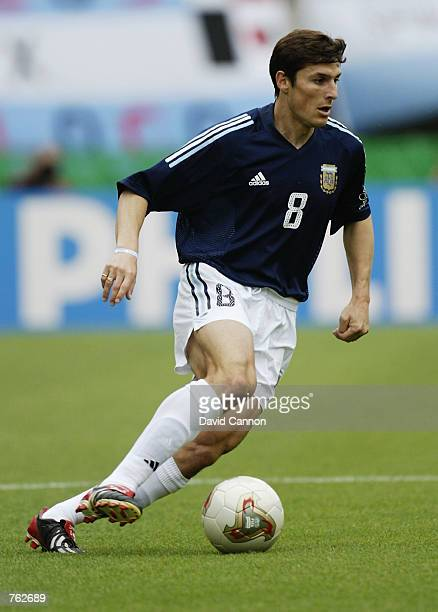 Javier Zanetti of Argentina runs with the ball during the FIFA World Cup Finals 2002 Group F match between Argentina and Sweden played at the Miyagi...