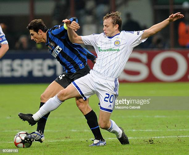 Javier Zanetti of FC Inter Milan battles for the ball againstOleh Gusev of FC Dynamo Kyiv during the UEFA Champions League matchday 3 Group F match...