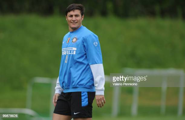 Javier Zanetti of FC Internazionale Milano attends an FC Internazionale Milano training session during a media open day on May 18, 2010 in Appiano...