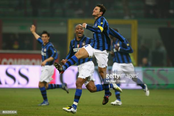 Javier Zanetti of Inter celebrates his equalising goal during the Serie A match between Inter Milan and Roma at the San Siro stadium on February 27...