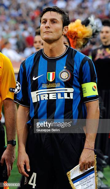 Javier Zanetti of Inter Milan before the UEFA Champions League Final match between FC Bayern Muenchen and Inter Milan at Bernabeu on May 22 2010 in...