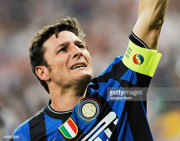 Javier Zanetti of Inter Milan celebrates after defeating FC Bayern Muenchen at the UEFA Champions League Final match at the Bernabeu on May 22, 2010...