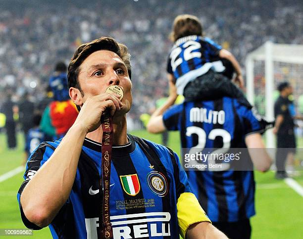 Javier Zanetti of Inter Milan celebrates after defeating FC Bayern Muenchen at the UEFA Champions League Final match between FC Bayern Muenchen and...