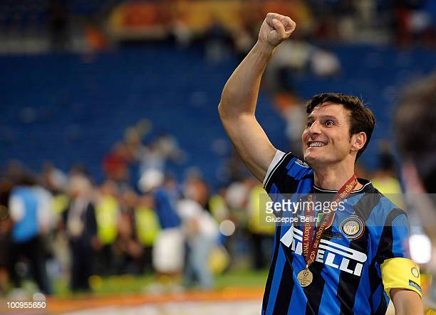 Javier Zanetti of Inter Milan celebrates the victory after the UEFA Champions League Final match between FC Bayern Muenchen and Inter Milan at...