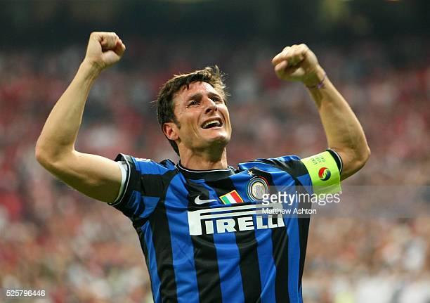 Javier Zanetti of Inter Milan celebrates winning the UEFA Champions League final | Location Madrid Spain