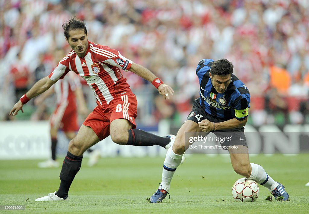 Javier Zanetti of Inter Milan clashes with Hamit Altintop ...