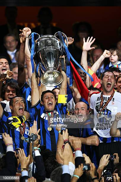 Javier Zanetti of Inter Milan lifts the UEFA Champions League trophy following their team's victory at the end of the UEFA Champions League Final...