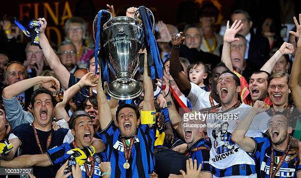 Javier Zanetti of Inter Milan lifts the UEFA Champions League trophy following their team's victory over FC Bayern Munich in the UEFA Champions...