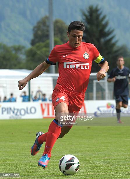 Javier Zanetti of Internazionale Milano runs with the ball during a preseason friendly match between FC Internazionale Milano and Rappresentativa...