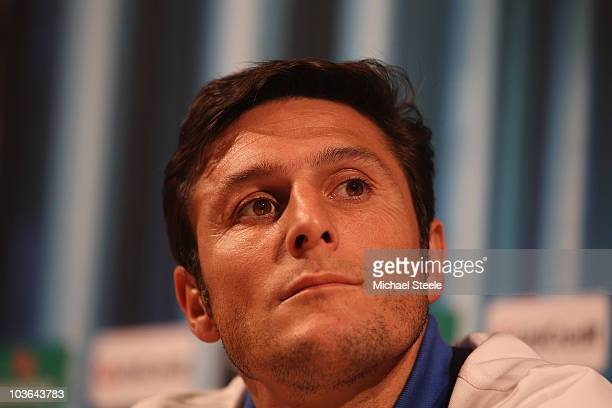 Javier Zanetti the captain of Inter during the Inter Milan press conference at the Grimaldi Forum on August 26, 2010 in Monaco, Monaco.
