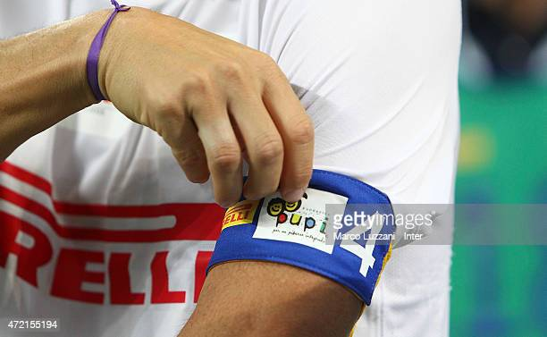 Javier Zanetti with his captains bandage during the Zanetti and friends Match for Expo 2015 at Stadio Giuseppe Meazza on May 4 2015 in Milan Italy