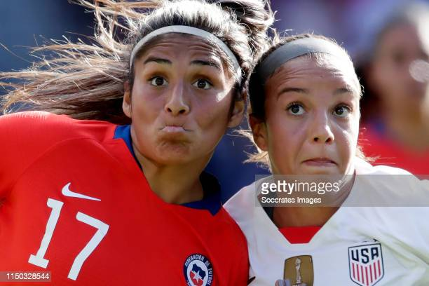 Javiera Toro of Chile Women Mallory Pugh of USA Women during the World Cup Women match between USA v Chile at the Parc des Princes on June 16 2019 in...