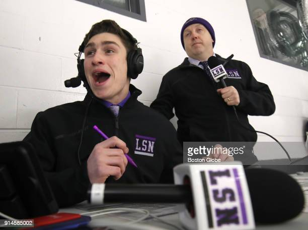 Javik Blake and color commentator Greg Brunault react as the underdog Norton High scores the first goal of the game against Foxboro High at the...