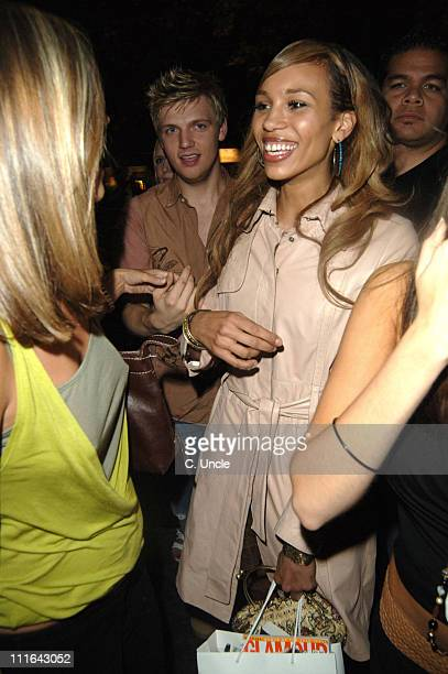 Javine and Nick Carter during 2005 Glamour Women of the Year Awards Departures at Berkeley Square in London Great Britain
