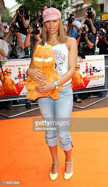 """Javine during The UK Charity Premiere Of """"Garfield the Movie"""" - Arrivals at Liecester Square Vue Cinema in London, Great Britain."""
