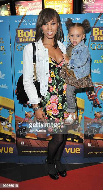 Javine Hylton attends the UK film premiere of 'Bob The Builder The Legend Of The Golden Hammer' at Vue Leicester Square on May 15 2010 in London...