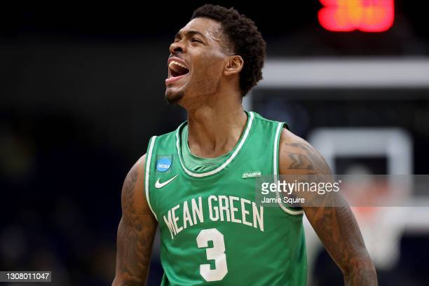 Javion Hamlet of the North Texas Mean Green celebrates against the Purdue Boilermakers in the first half in the first round game of the 2021 NCAA...