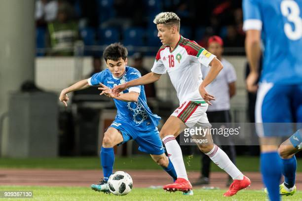Javokhir Sidikov of Uzbekistan Amine Harit of Morocco during the international friendly match between Morocco and Uzbekistan at the Stade Mohammed V...