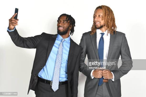 Javon Freeman-Liberty and Brandon Johnson of the DePaul Blue Demons pose for a photo during the Big East Media Day at Madison Square Garden on...