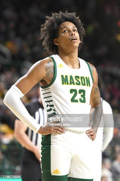 Javon Greene of the George Mason Patriots during a college basketball game against the Virginia Commonwealth Rams at the Eagle Bank Arena on January...