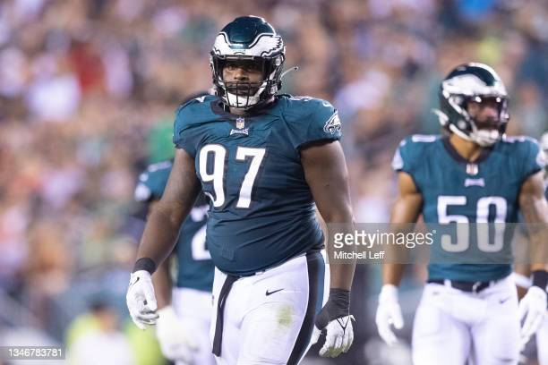 Javon Hargrave of the Philadelphia Eagles looks on against the Tampa Bay Buccaneers at Lincoln Financial Field on October 14, 2021 in Philadelphia,...
