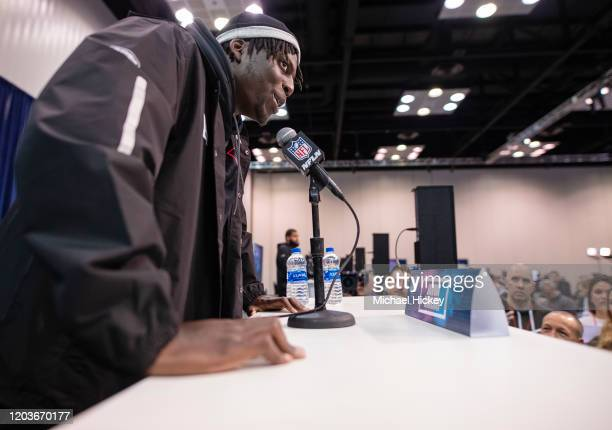 Javon Kinlaw #DL14 of the South Carolina Gamecocks speaks to the media at the Indiana Convention Center on February 27 2020 in Indianapolis Indiana