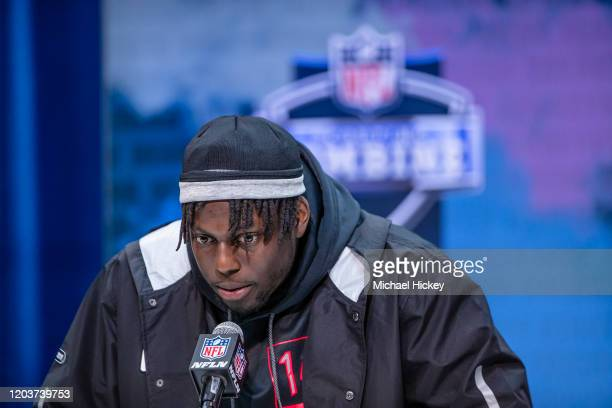 Javon Kinlaw #DL14 of the South Carolina Gamecocks speaks to the media on day three of the NFL Combine at Lucas Oil Stadium on February 27 2020 in...